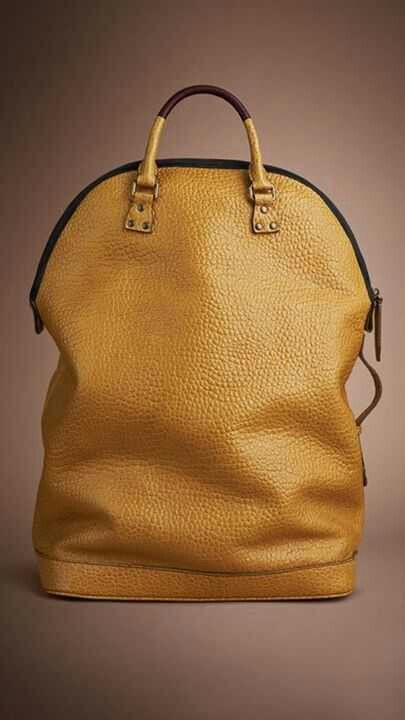 Golden yellow tote w/unique height, pebble grain texture and two-tone handle. | Inspiration Only | No Product Link