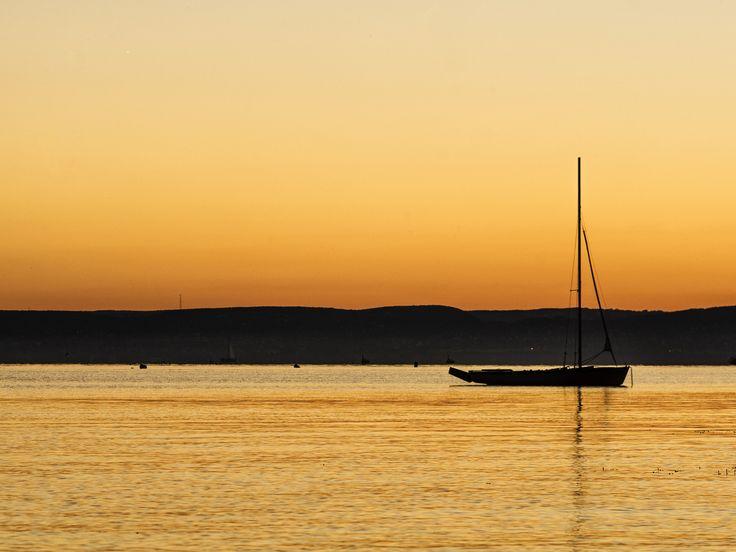Sunset at lake Balaton, Hungary - Sunset at lake Balaton at Balatonakaratta, Hungary