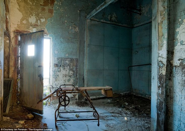 Morgue: This room served as the morgue for Riverside Hospital, in the building that 'Typhoid' Mary Mallon trained to be a pathological assistant in, and where upon her death an autopsy confirmed that she had live typhoid cultures in her gall bladder. - Click for story of Typhoid Mary