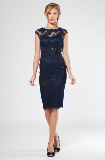 Navy lace dress cocktail