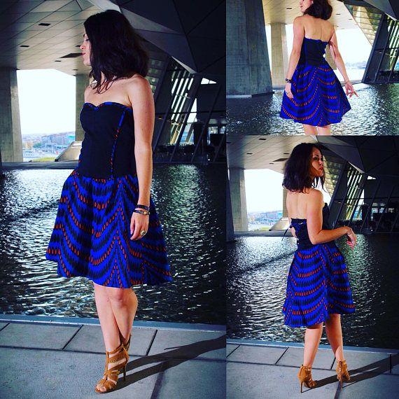 Robe pour femme, Robe bustier Wax bleu, évasée et asymétrique, robe du soir ethnique, robe de fete, noel, ankara