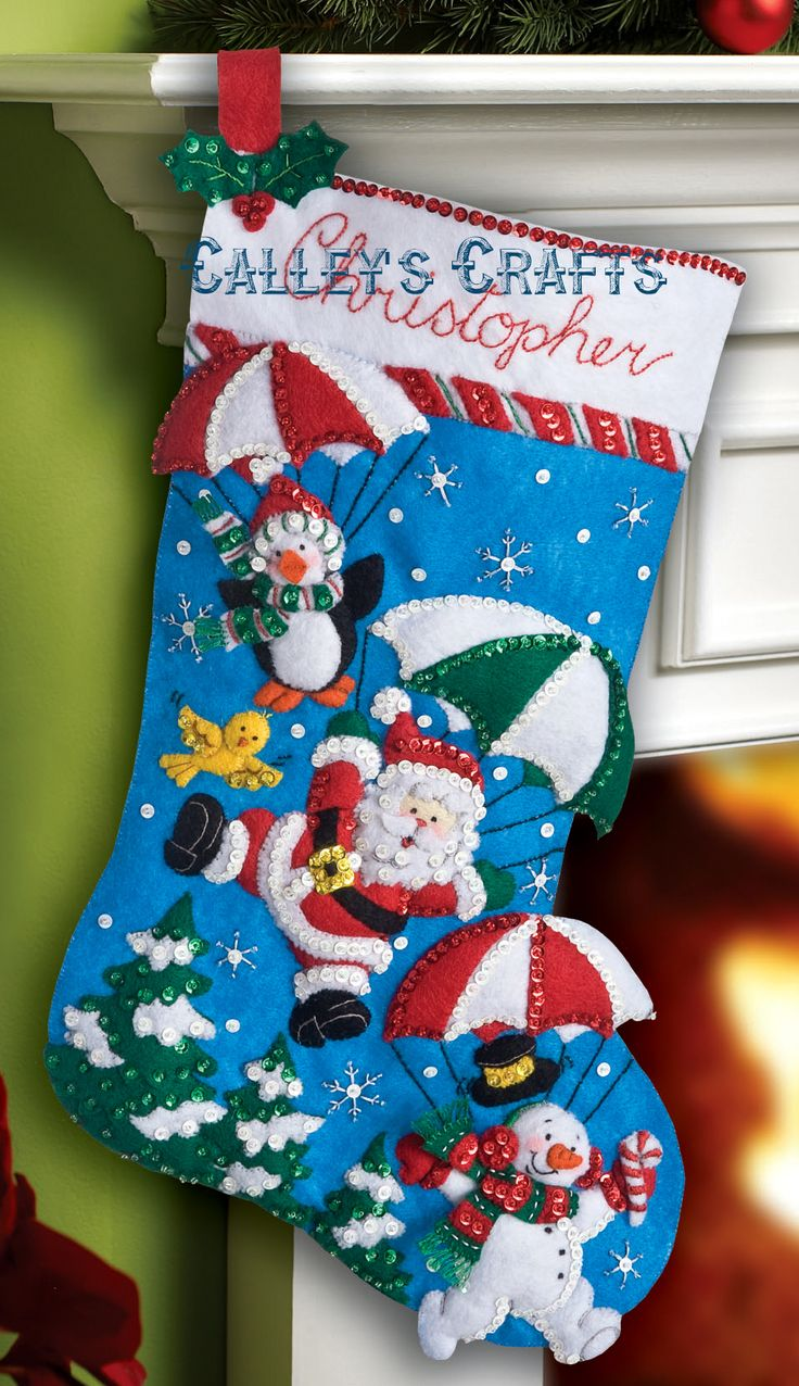 "Dropping In 18"" Bucilla Felt Christmas Stocking #86325 - FTH Studio InternationalFTH Studio International"