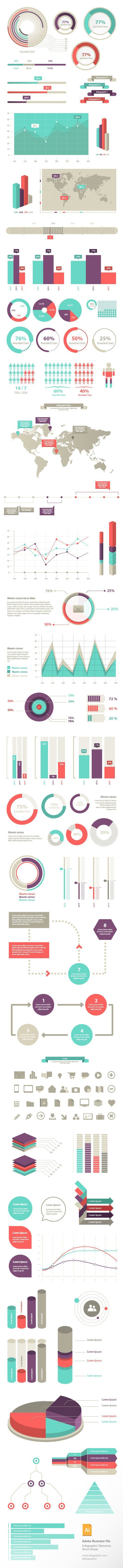 100+ Free Infographic Elements | #infographic #design #elements: