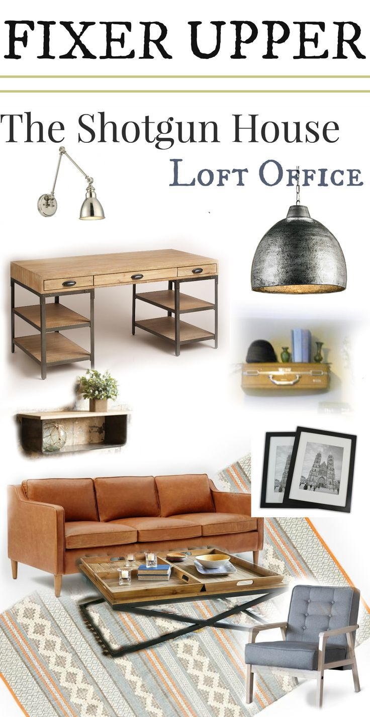 Fixer Upper Shotgun House Loft Office The  most complete source list of products used on Fixer Upper. Mid Century Modern meets industrial interior design.