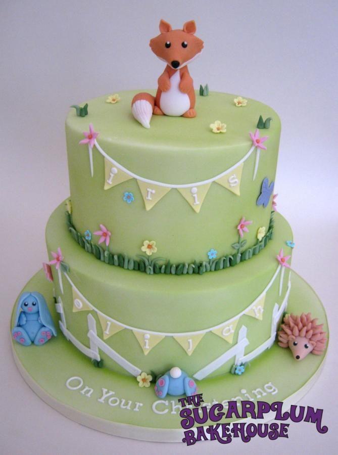 2 Tier Woodland Creature / Meadow Joint Christening Cake - Cake by Sam Harrison Fox, Hedgehog, Rabbit, Bunny