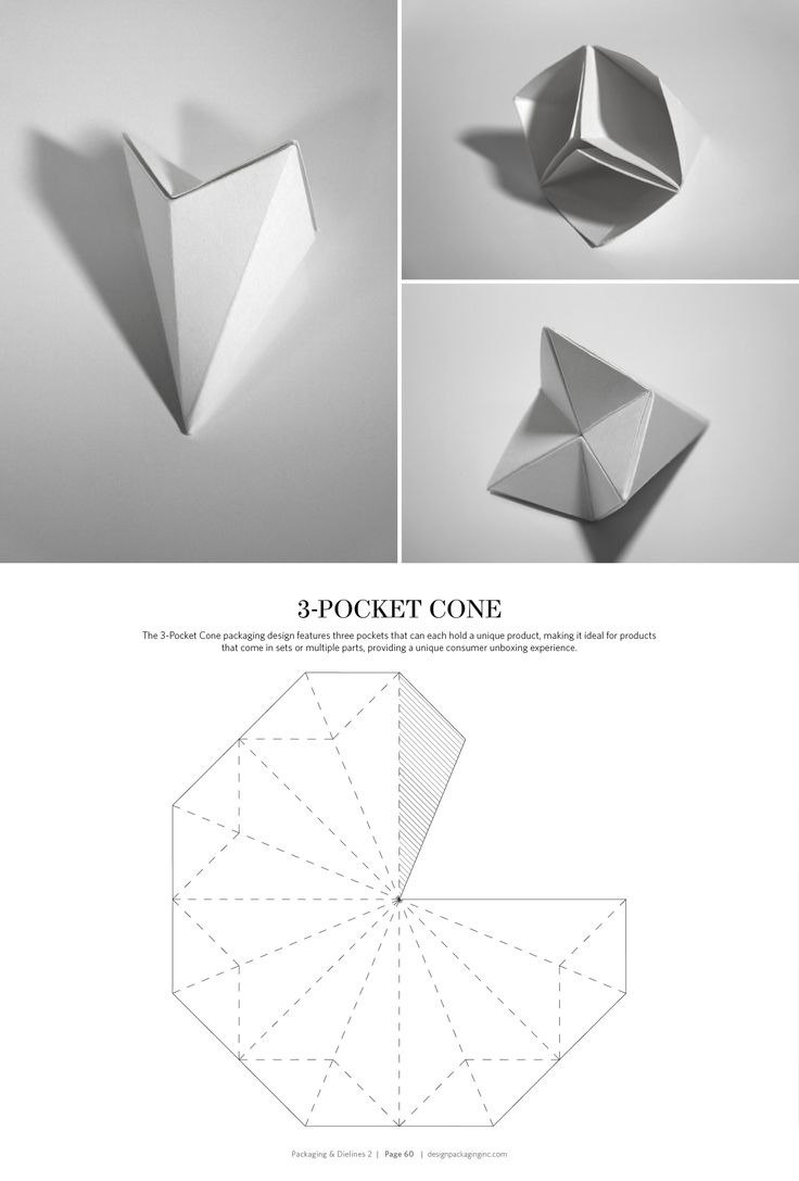3-Pocket Cone – structural packaging design dielines