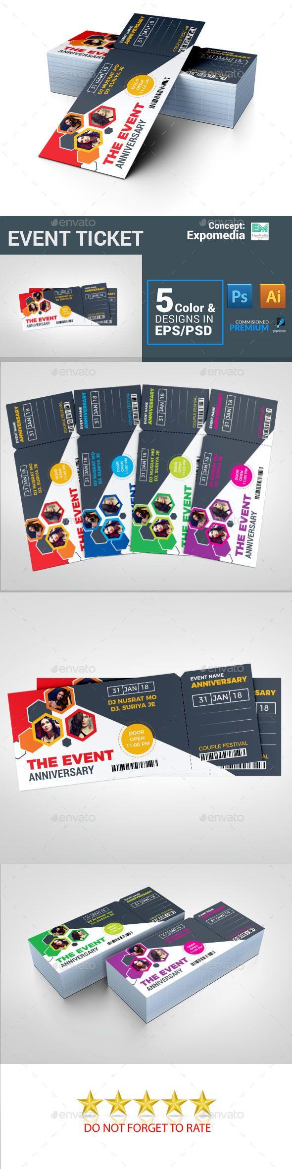 Event Ticket Template PSD, Vector EPS, AI Illustrator