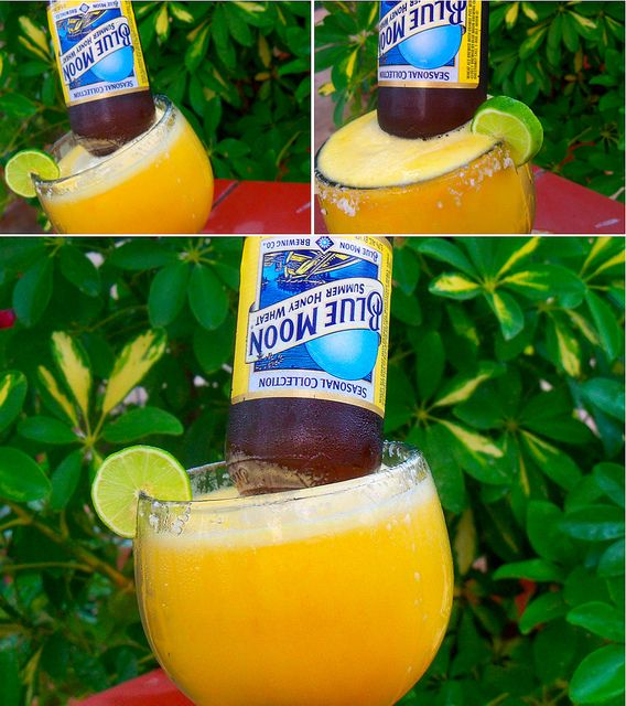 Moon-a-Rita. Mango margarita blended with ice. Pour in one bottle of Blue Moon and there you go!
