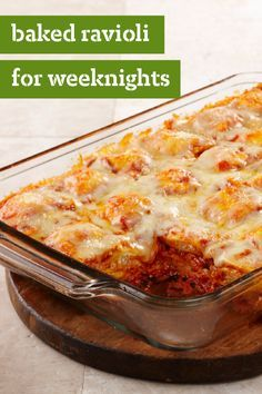 Baked Ravioli for Weeknights – Combine layers of frozen ravioli for this easy dinnertime dish. This ravioli bake recipe is simple to assemble on even the busiest of weeknights!