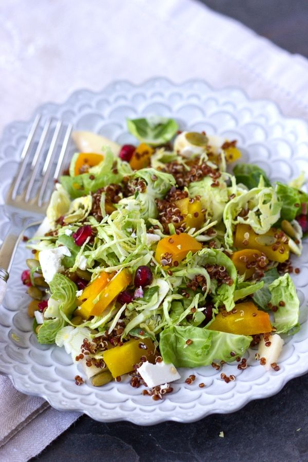 Winter Wuinoa Salad w/ brussels sprouts, beets, and apple