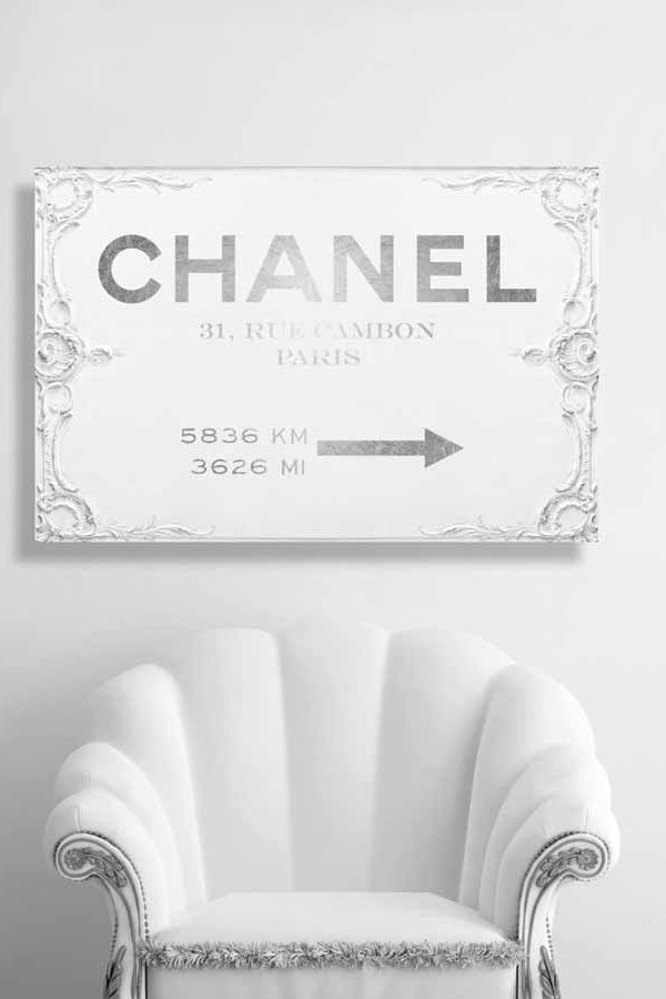 Couture Sign 'Chanel' by Art Remedy Typography Wrapped on Canvas Silver White Wallart