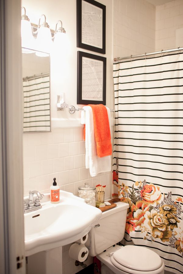 black, white, and orange bathroom | Kaitie Bryant