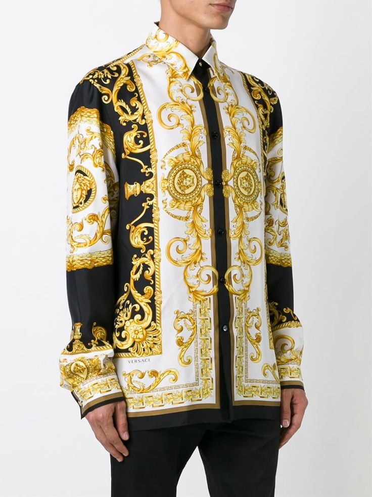 Versace Baroque Print Shirt In Gold For Men Multicolour