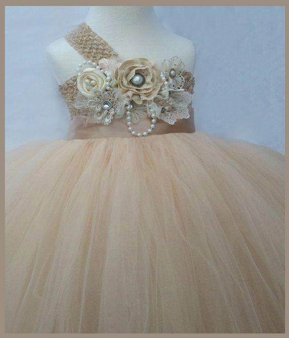 Champagne flower girl dress flower girl tutu