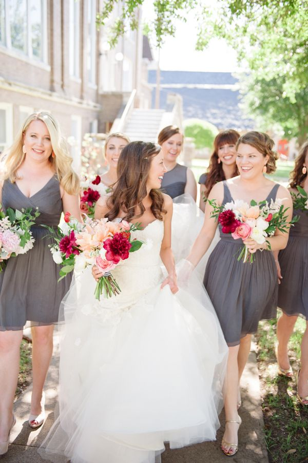 pretty bridal party in gray | Matt and Julie #wedding