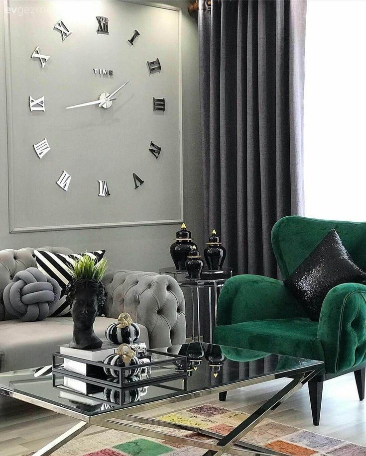 Living Room Modern Style Gray Emerald Green Tulle Curtain