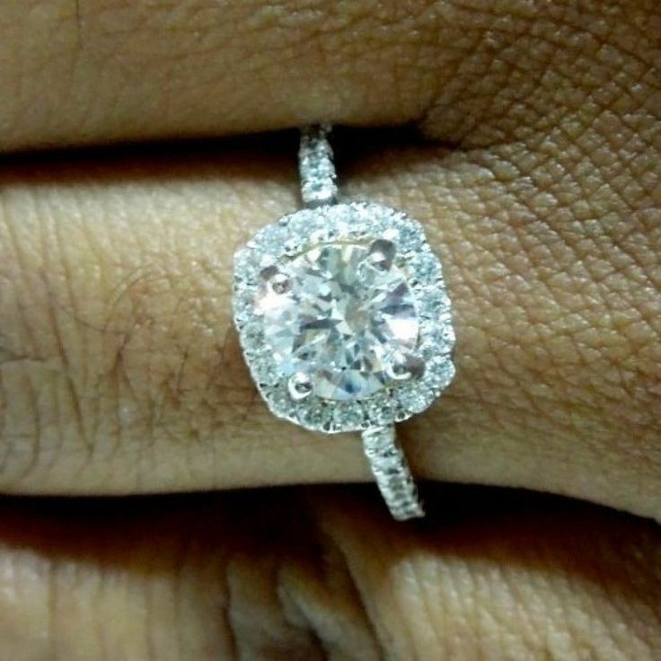 1.35 ct Brilliant Round Cut Halo Engagement Ring 14k Genuine Solid White Gold