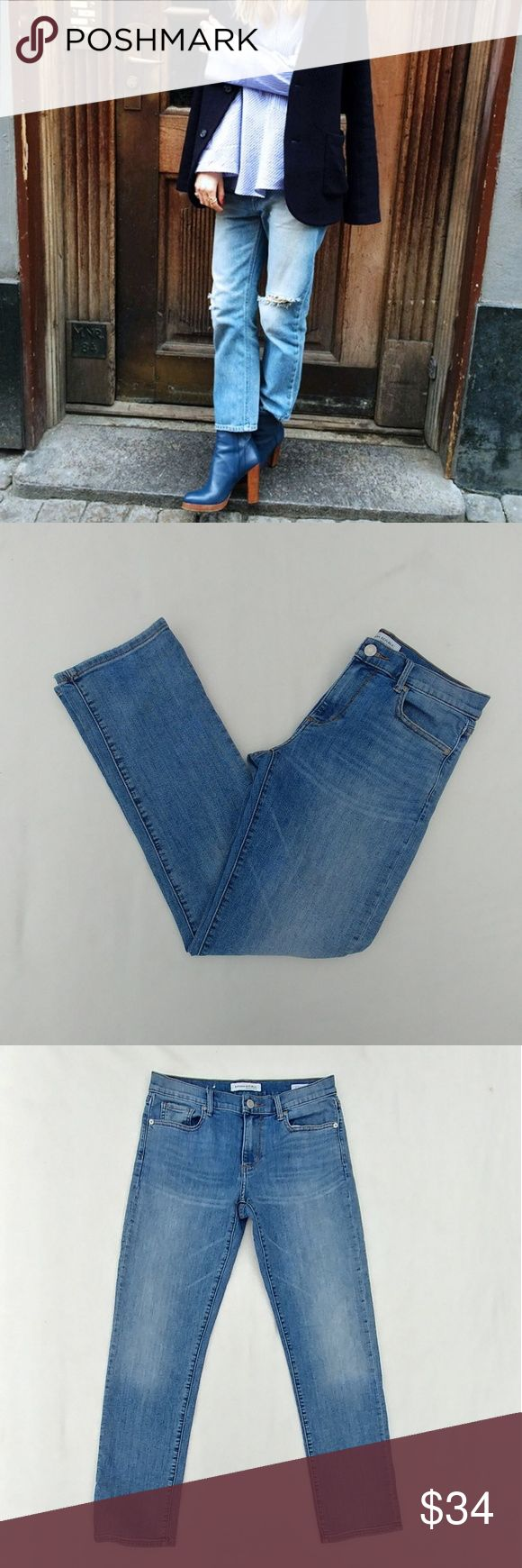"Banana Republic Straight Leg Jeans Material: 93% cotton 5% polyester 2% elastane Condition: Pristine Waist: 14.5"" Inseam: 29"" Style: Straight Wash: Light  ⚫NOTE⚫ Super cute everyday jeans. Do what you want to these; cut them up, dye them, or leave them alone. The perfect straight leg jean! No stains, rips, or holes.   👉Stock photos are for wearing suggestion only. NOT ACTUAL PANTS. Banana Republic Jeans Straight Leg"