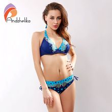 Andzhelika Bikini Set 2016 Summer Styles Swimwear Women Print Dot Bikinis Set V Neck Halter Swimsuit maillot de bain AK93233(China (Mainland))