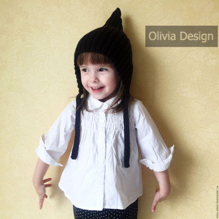 Купить Шапочка Эльф - черный, однотонный, шапка, вязанная шапка, шапка эльф, эльфийская шапка