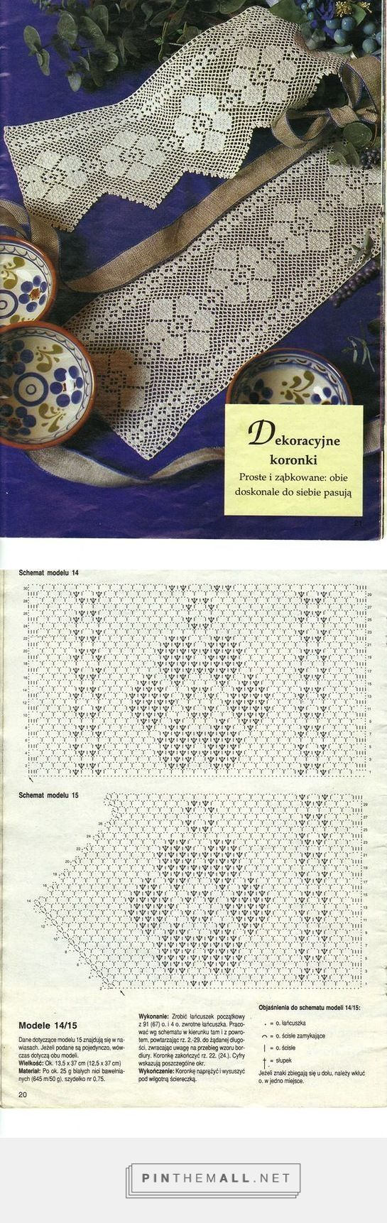 Filet crochet lace insert & edging with flower design