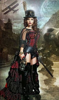 From the Steampunk Fashion Guide to Skirts & Dresses: Showgirl Skirts - an example of a woman wearing a Steampunk Showgirl Skirt