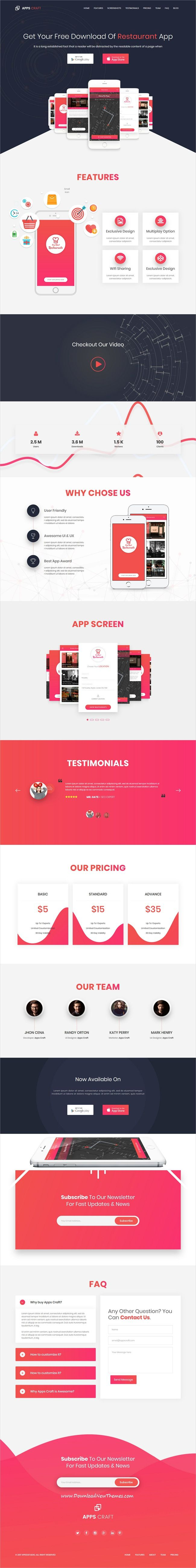 Apps Craft is clean and modern design responsive #WordPress theme for creative #app landing page website with 10 unique homepage layouts download now #webdesign