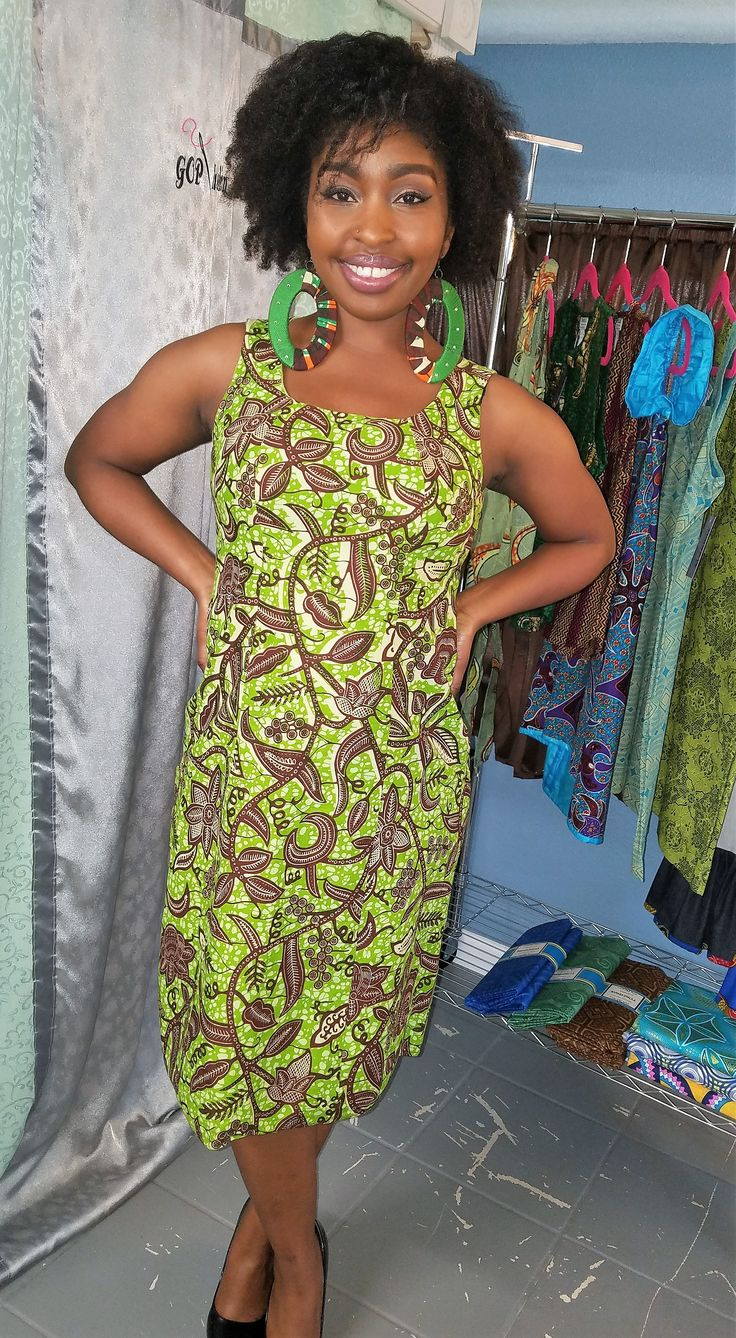 Comfortable and ready for any occasion - this Ankara Dress made by TOOMBAS will be your go to dress every time!  100% Ankara Cotton, Gentle Wash, Line Dry, Medium-Cool Iron when needed. If your size is sold out, please contact us direct to see if we can sew it up for you!!!