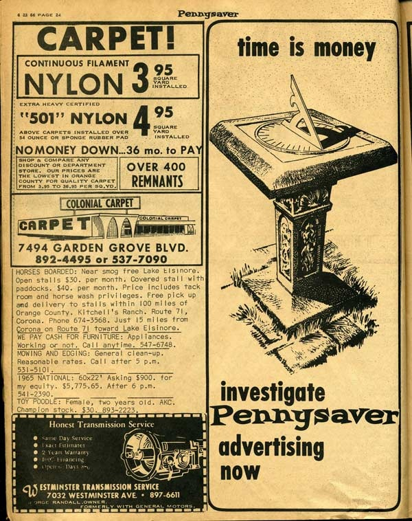 Inside page ad from the 1966 Pennysaver.