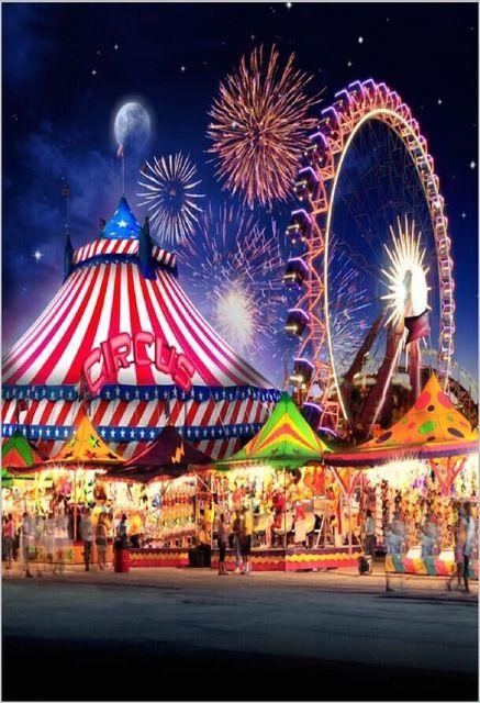 5x7FT Cirque Tente Fête Foraine Carnaval Ferris Roue Feux D'artifice Enfants Personnalisé Photo Studio Backdrop Vinyle 220 cm x 150 cm