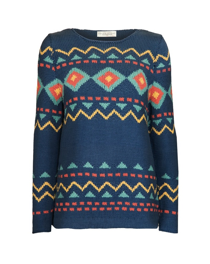 Ethnic patterned knit inspired by a bestseller from the Edina Ronay knitwear archive.