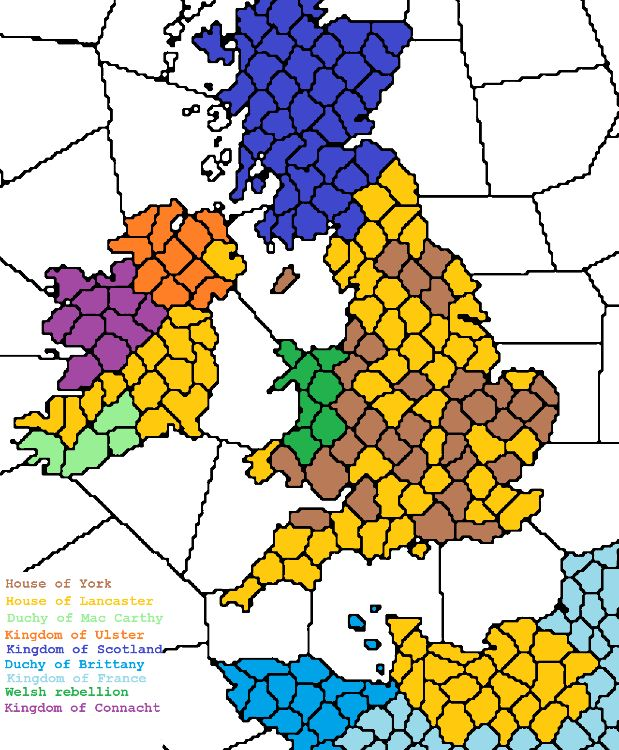 Territories during the English Civil war of 1455, also known as the War of the Roses. The Wars of the Roses were a series of dynastic wars fought between supporters of two rival branches of the royal House of Plantagenet: the houses of Lancaster and York for the throne of England.