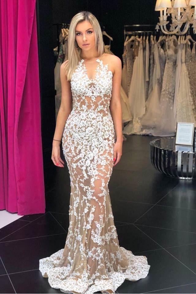 Mermaid Crew Sleeveless Sweep Train White Lace Prom Dress | * Prom ...
