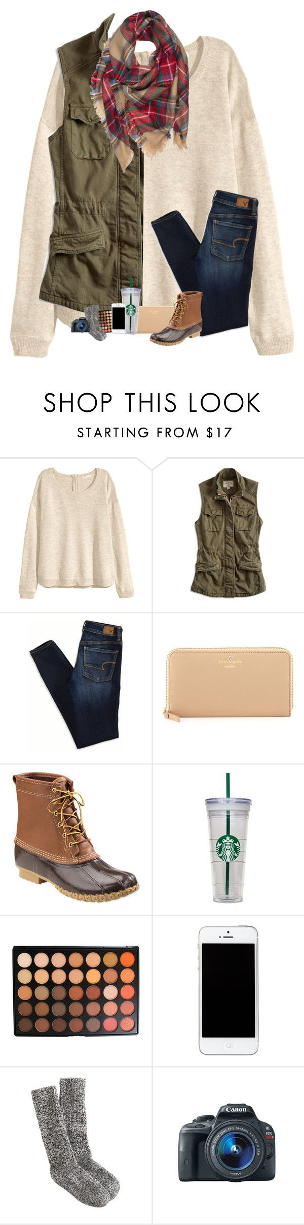 """""""Bean boots contest :-)"""" by sanddollars ❤ liked on Polyvore featuring H&M, Lucky Brand, American Eagle Outfitters, Kate Spade, L.L.Bean, WALL, Morphe, J.Crew and Eos"""