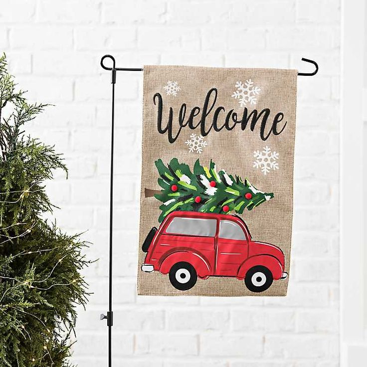 Truck with Christmas Tree Flag Set | Kirklands | Christmas ...