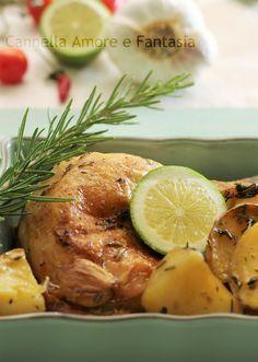 Pollo al forno al limone e erbe aromatiche con patate