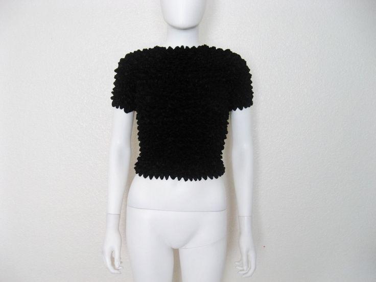 90s Black MAGIC Scrunchie Top / popcorn shirt
