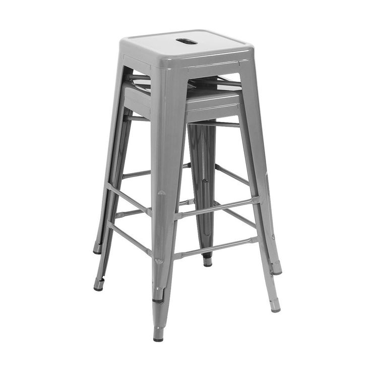 2 pcs Modern Style Bar Stool Metal Stackable Stools Height Counter Set -Silver