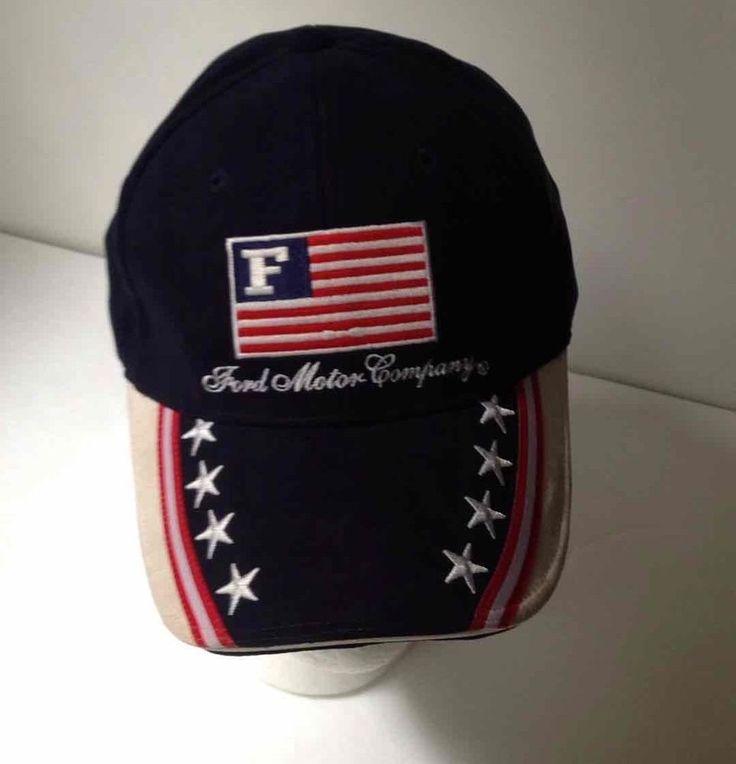 FORD Motor Company American Flag Patriotic Hat Adjustable Strapback Blue Cap VGC #FordMotorComany #BaseballCap