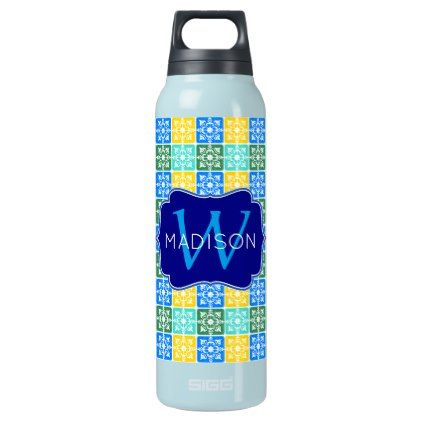 Trendy Resort Fashion Mediterranean Tiles Monogram Insulated Water Bottle - monogram gifts unique custom diy personalize