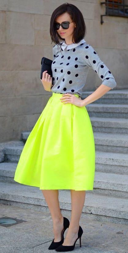 Polka dot top + neon yellow skirt