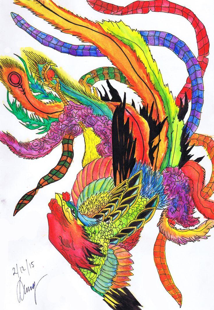 Phoenix - By Anthony Keutzer #Phoenix #Tattoo #Design #TattooDesign #Inspiration #Red  #Colourful #Watercolour #Ink #Art #Sketch #Keutzer