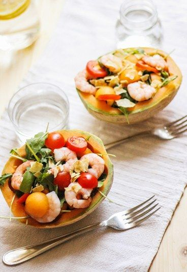 Insalata di melone e gamberi - Piatti unici estivi | Ricette di piatti unici per l'estate