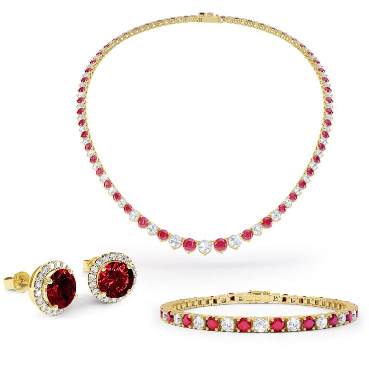 Eternity Ruby and White Sapphire 18ct Gold Vermeil Jewellery Set with Necklace