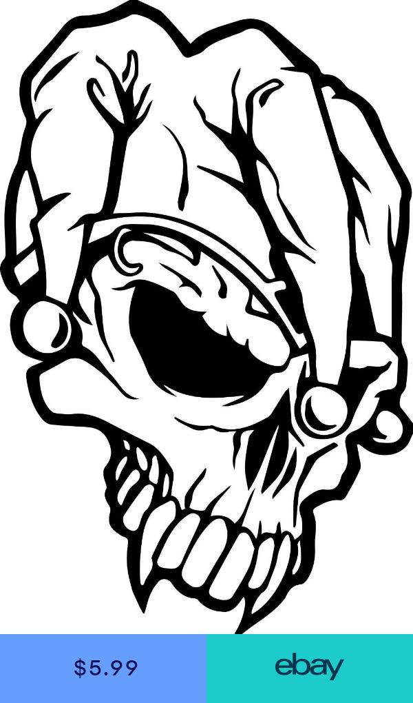 Jester Skull Monsters Window Decal In 2019 Skull Coloring