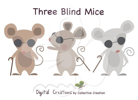 Three Blind Mice Digital Clip Art Clipart by CollectiveCreation, $4.00