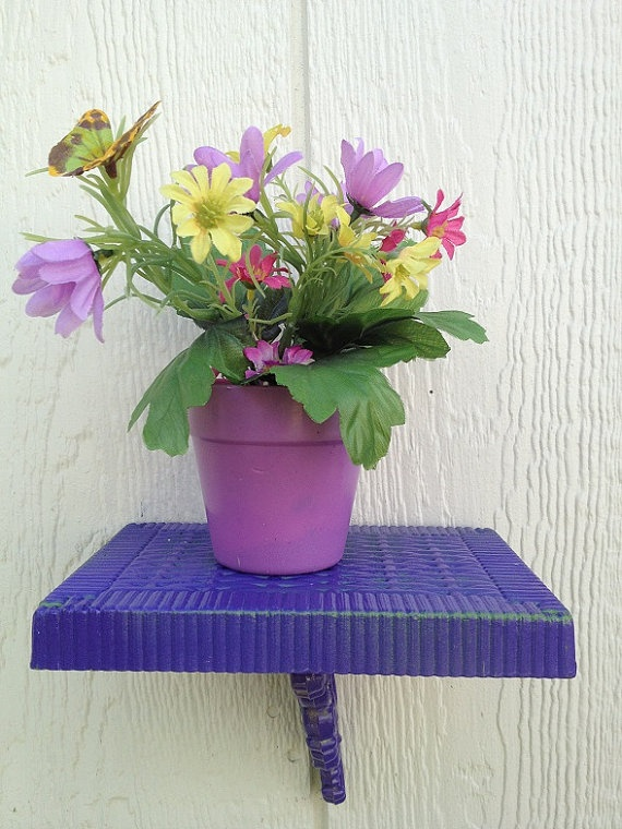 Purple Painted Wicker Look Decorative Wall by StartathomeVintage, $10.00