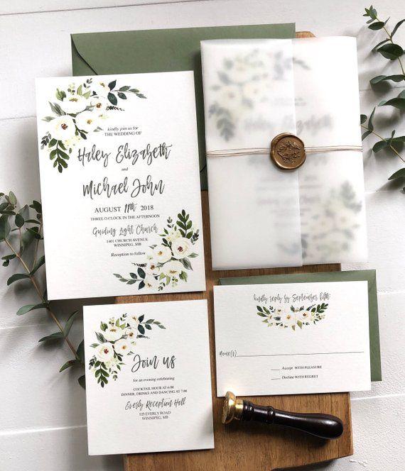 Vellum Hochzeitseinladungen Blumen Weisse Blume