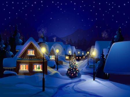 Peaceful night - houses, night, snow, winter