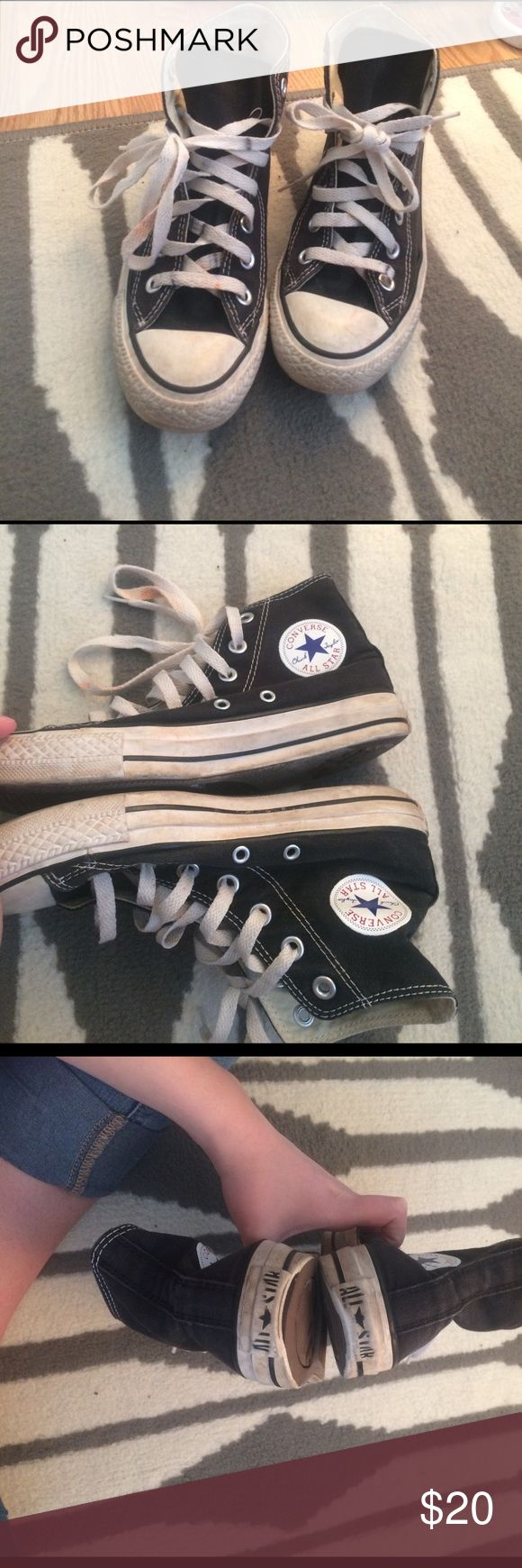 High top black converse Shoe laces have paint on them but can be replaced. Loved these! Wore them a lot but always with socks. Still in good condition! Heals are a little worn out but these are built to last! These are child 3.5 but are a woman's 5.5 and can also fit a 6! Converse Shoes Sneakers